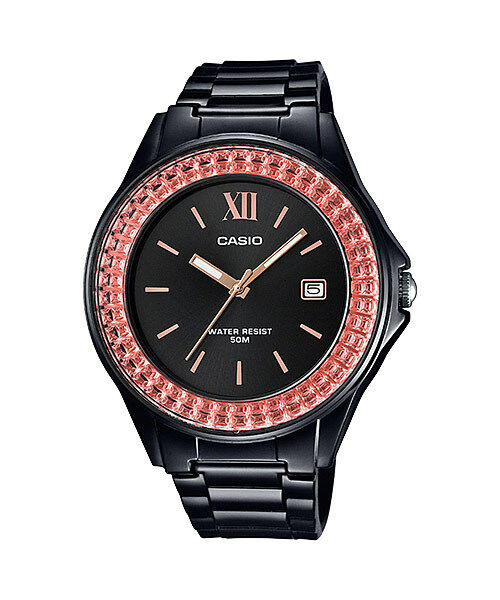 Casio lx 500h 1e black pink casio ladies watch resin band 50m analog date new ebay for Black resin ladies watch
