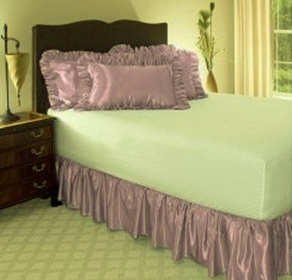 1 piece microfiber solid bed ruffle skirt 14 inch drop size queen lilac ebay. Black Bedroom Furniture Sets. Home Design Ideas