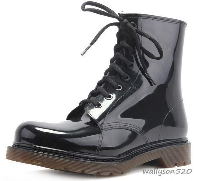 Fashion Mens Rain Lace Up Rubber Sole Casual Shoes Boots Work Boots | EBay