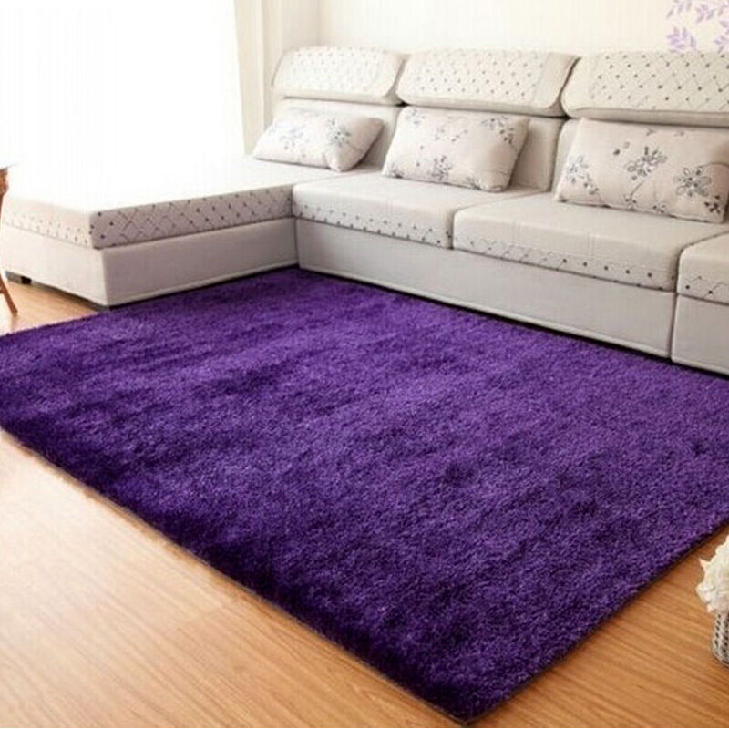 Fluffy rugs anti skid shaggy area rug floor mat dining for Rug in bedroom