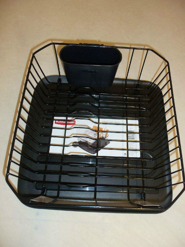 Rubbermaid small sink 6008 and 1180 dish drainer and tray board set black new ebay - Dish racks for small spaces set ...