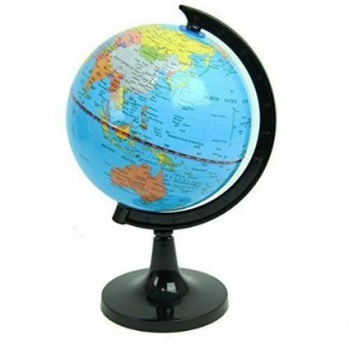 Stationary station political world globe desktop stand office school swivel ebay - Globe main office address ...
