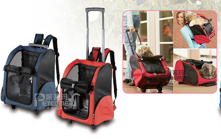 Travel Pet Carrier Dog Cat Rolling Backpack Airline Wheel