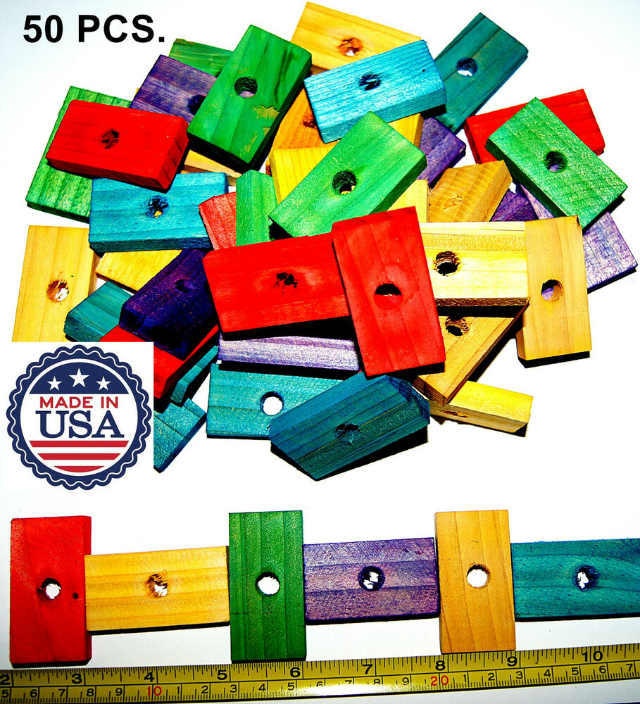 Wood Bird Toys : Colored wood wooden blocks bird parrot toys parts mini