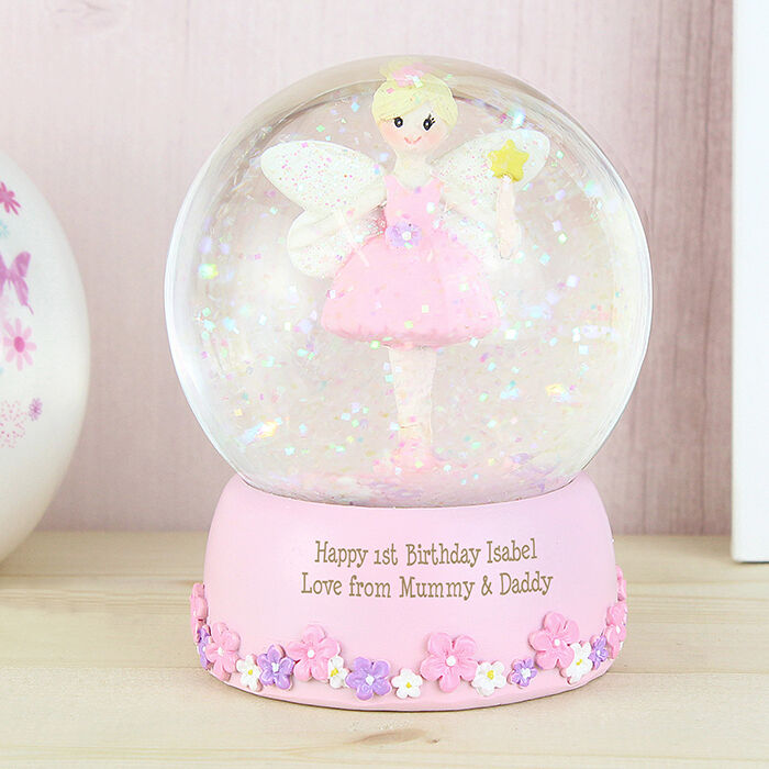 PERSONALISED Pink Fairy Snow Globe Girls Gift Baby