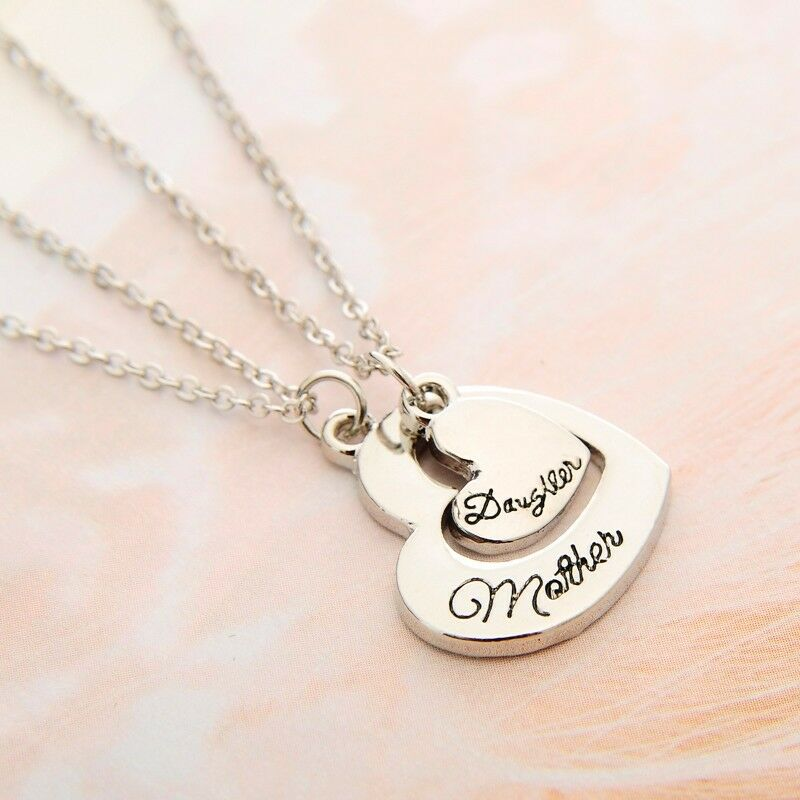 Dual Heart Shaped Mother Daughter Pendant Necklace Twinset