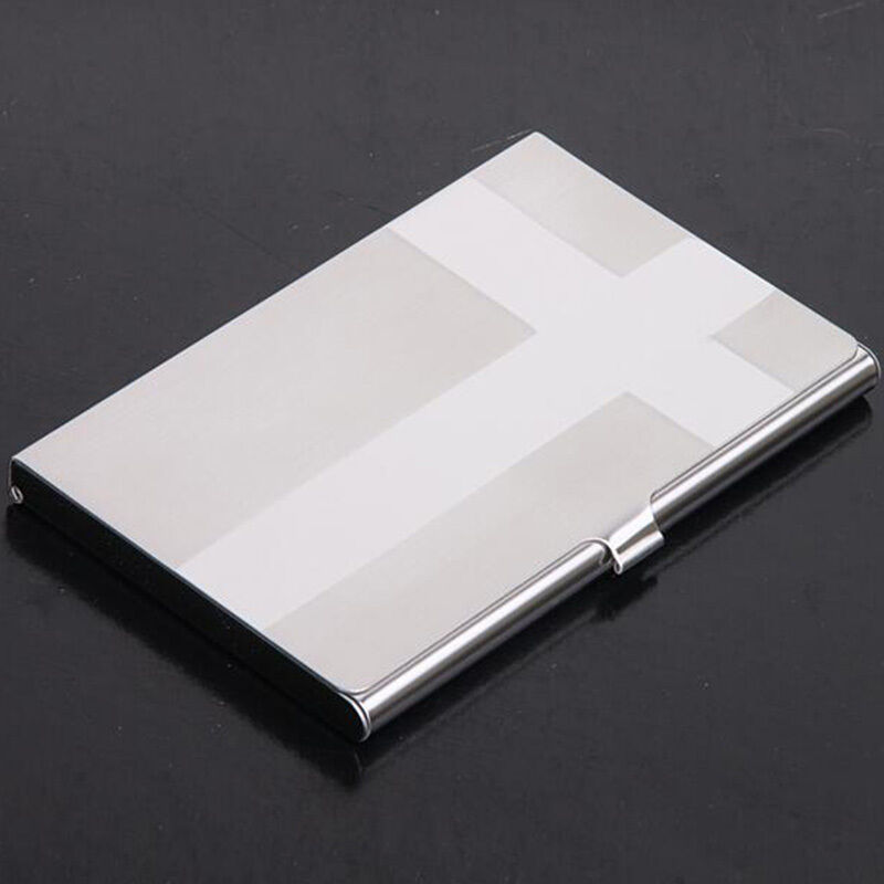 Silver Business Id Credit Card Wallet Holder Stainless Steel Metal