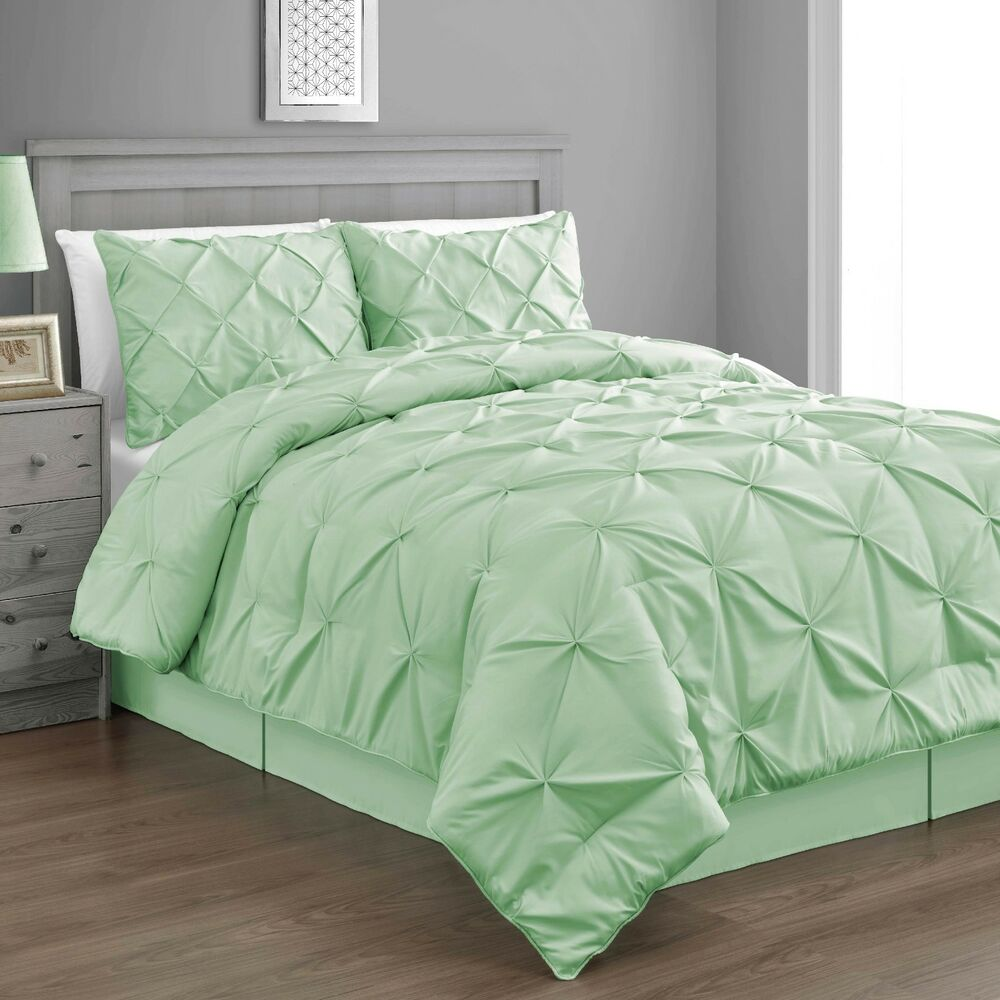 Bedroom Sets Full Size Mint Black And White Bedroom Ideas Lighting For Small Bedroom Bedroom With Black Accent Wall: Pinch Pleat Mint Green Emerson 4pc Comforter Set, Bed