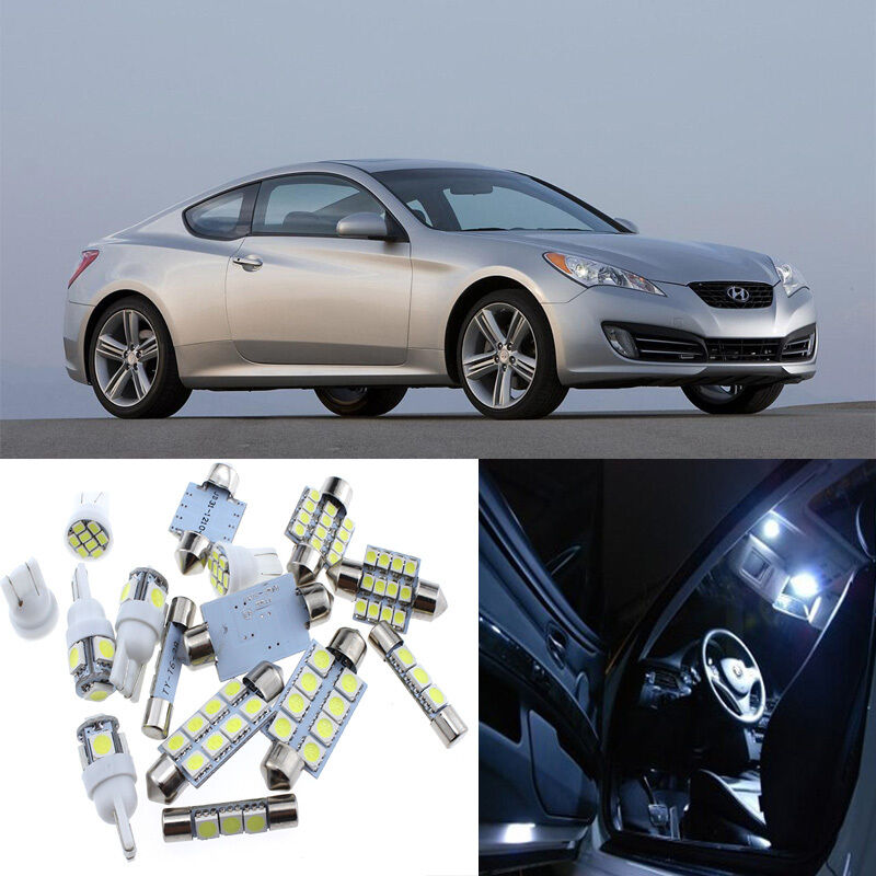 9pcs white interior led light package kit for hyundai genesis coupe 2010 2016 ebay. Black Bedroom Furniture Sets. Home Design Ideas