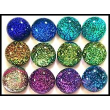 Lot of 12 SPLASH SPECTRUM Fused Glass DICHROIC Cabochons NO HOLE Beads Flat Back