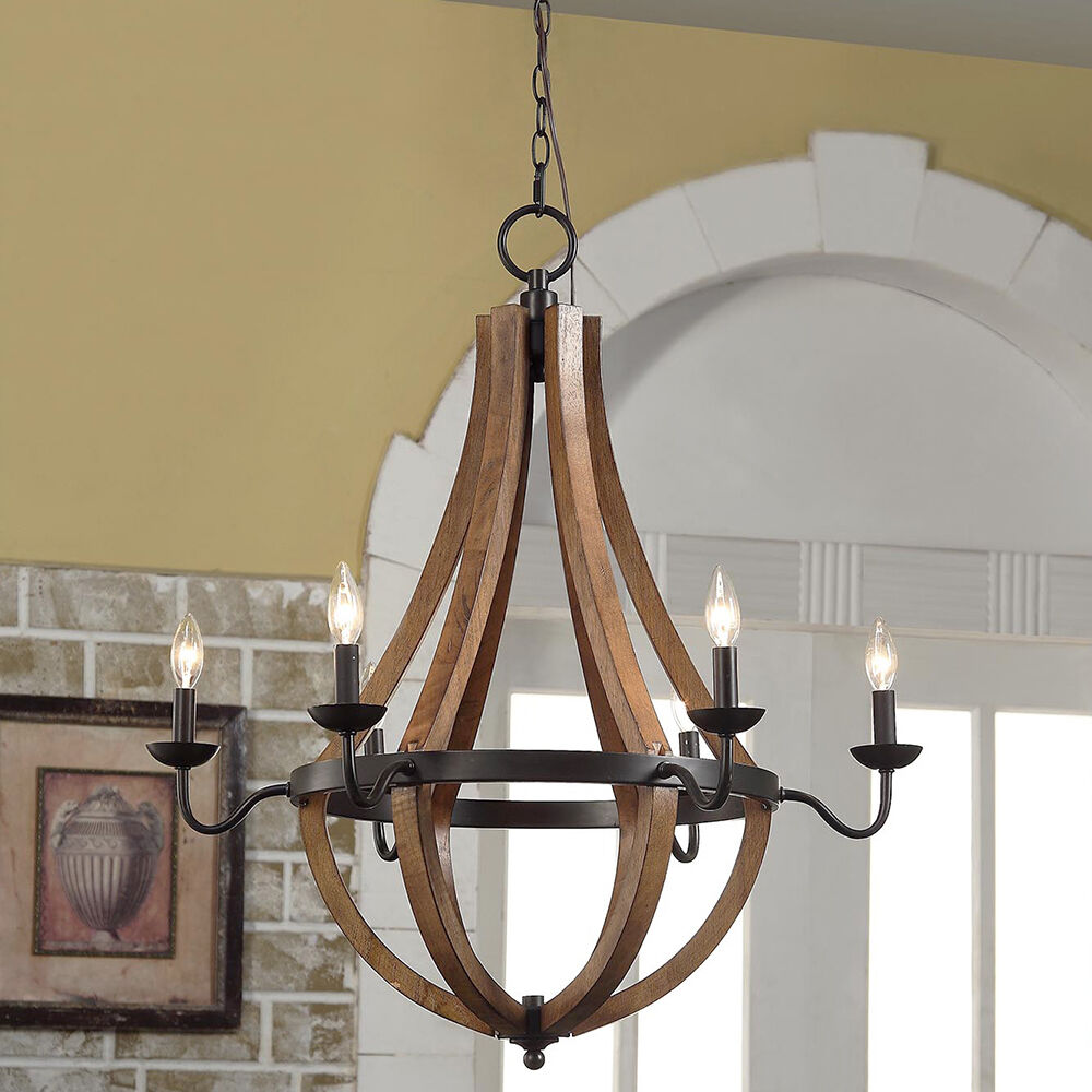 Rustic 6 light chandelier wood shade pendant lamp ceiling for Ceiling lamp wood