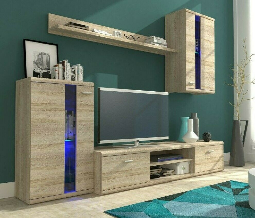 wohnwand schrankwand sierra wohnzimmer matt hochglanz farbauswahl 4 tlg modern ebay. Black Bedroom Furniture Sets. Home Design Ideas