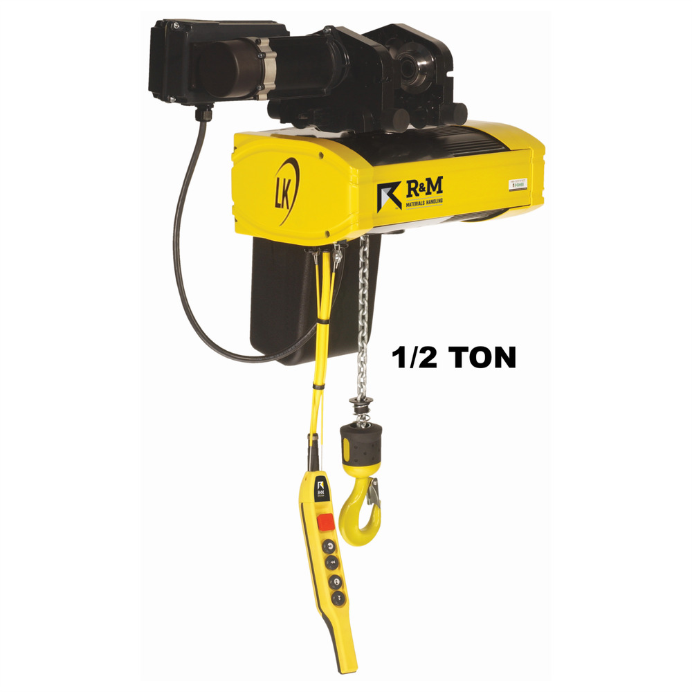 R m lk electric chain hoist 1 2 ton 20 ft lift 16 fpm for 1 4 ton chain motor