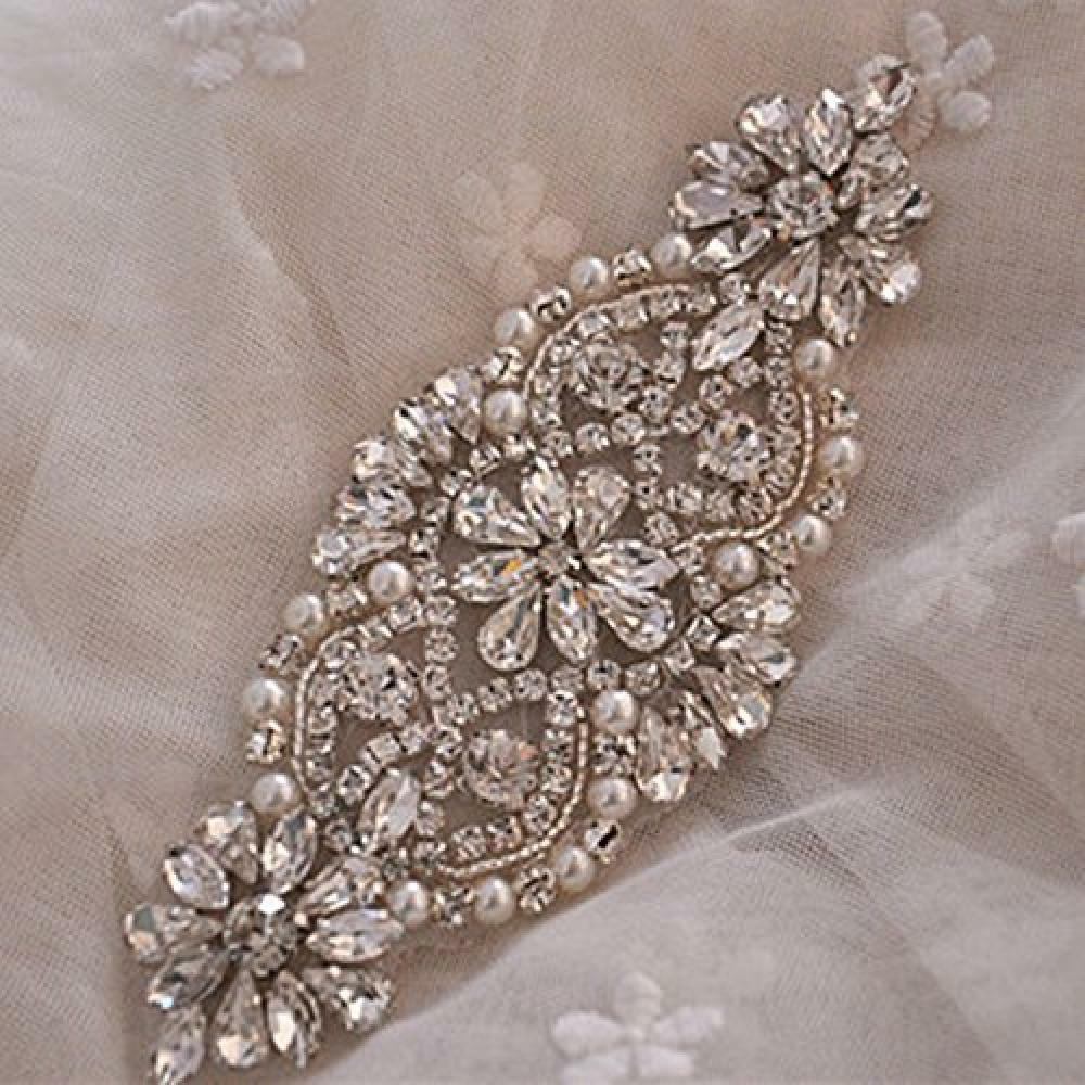 Rhinestone And Pearl Beaded Applique For Bridal Sash