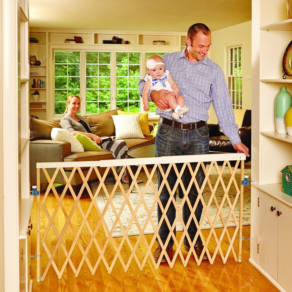 Expandable Swing Gate Fence Baby Kids Pet Safety Security