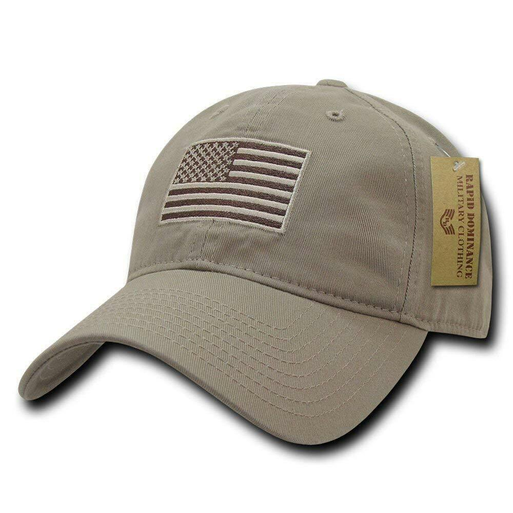 9f4cdd3f57911 Details about Khaki Tan USA US American Flag Patch United States America  Polo Baseball Hat Cap