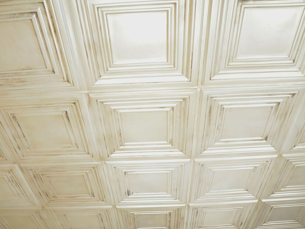 Faux Tin Ceiling Tile Td05 Antique White Glue Up Drop In