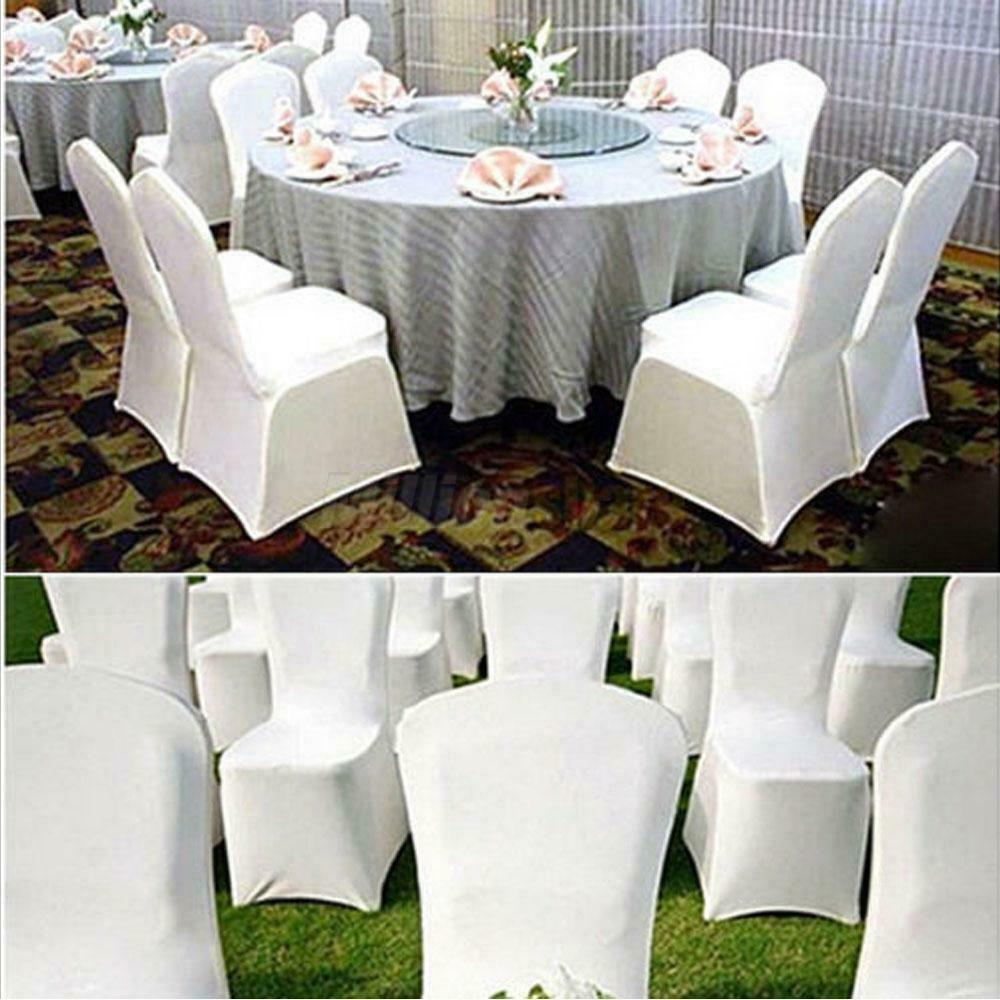 White Black New Polyester Spandex Chair Cover Arched Flat