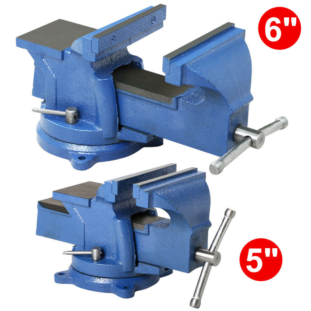 Bench Vise With Anvil Swivel Locking Base Table Top Clamp Heavy Duty Steel Ebay