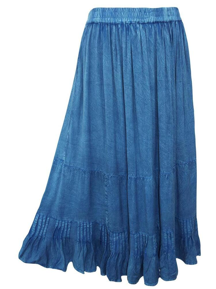 eaonplus blue butter soft boho maxi skirt plus sizes
