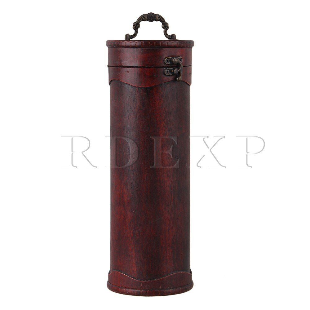 Vintage single bottle cylinder wood wine box brown red ebay for Timber wine box