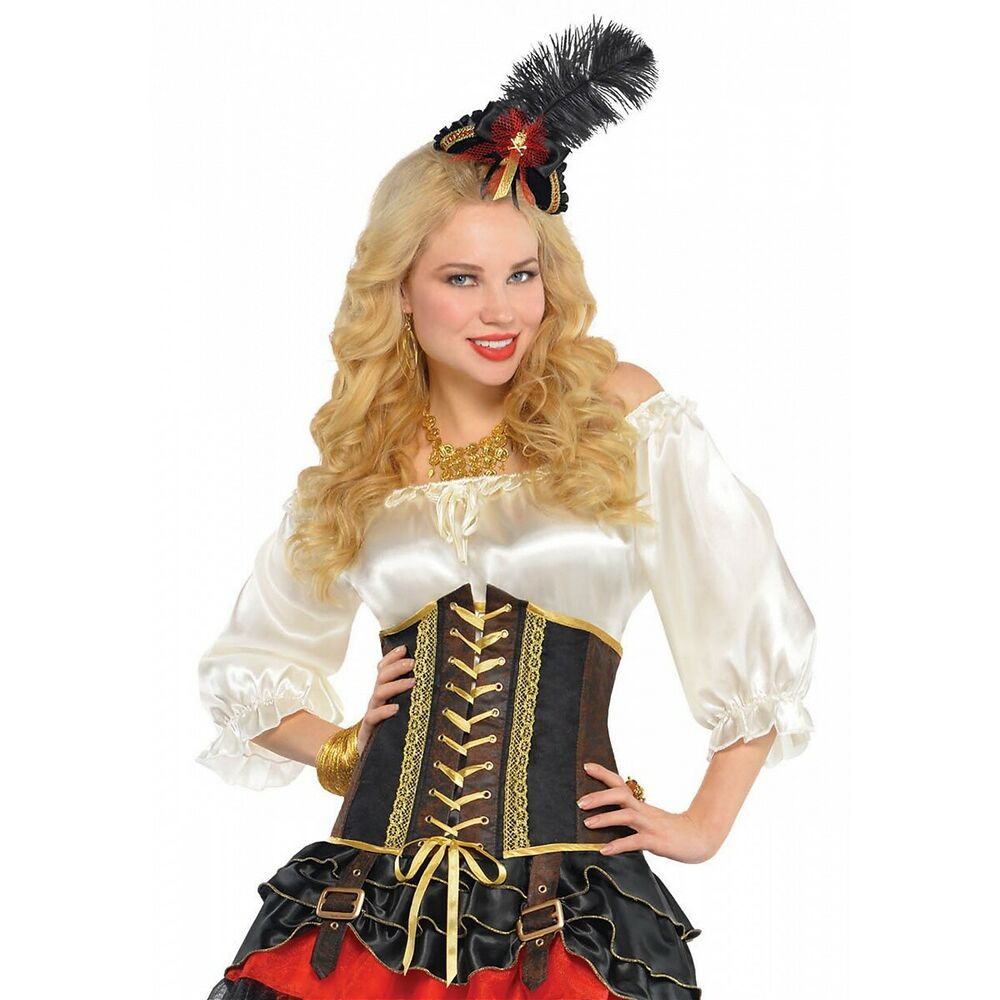 a9f2642fb71 Details about Pirate Costume Corset Adult Medieval Renaissance Bar Wench  Halloween Fancy Dress