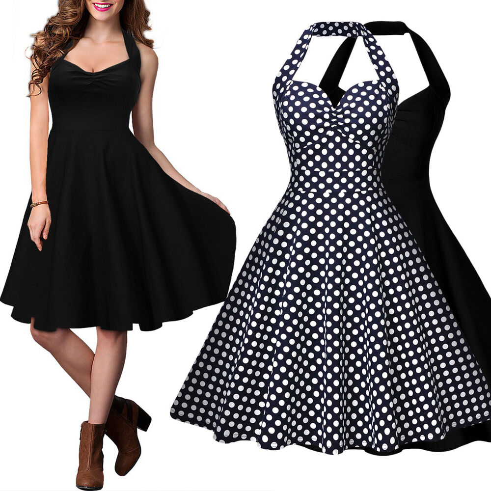 damen 50er sommerkleid neckholder rockabilly kleid party cocktail abendkleid ebay. Black Bedroom Furniture Sets. Home Design Ideas
