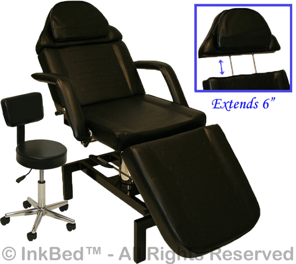 Inkbed tattoo black adjustable hydraulic table bed chair for Salon equipment prices