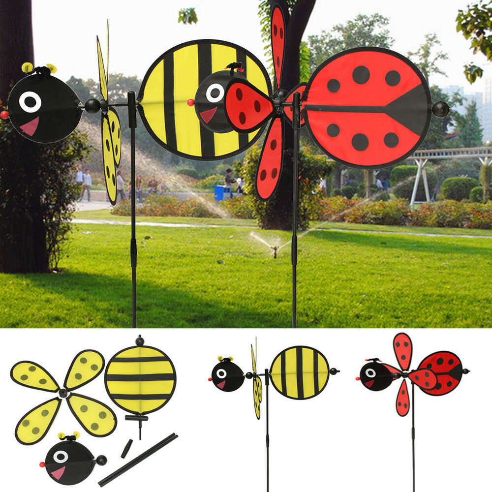 Bumble bee ladybug windmill whirligig wind spinner home for Outdoor yard art decorations