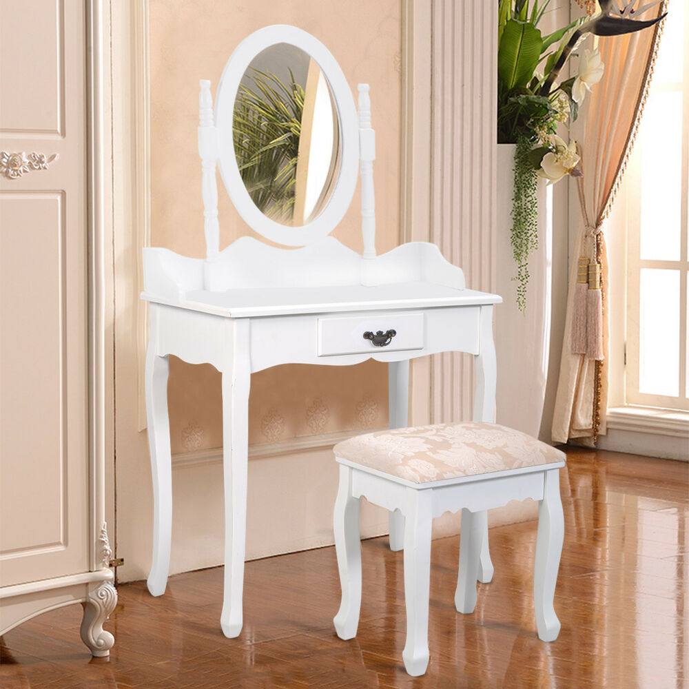 Vanity Makeup Dressing Table Set W/Stool Drawer & Mirror