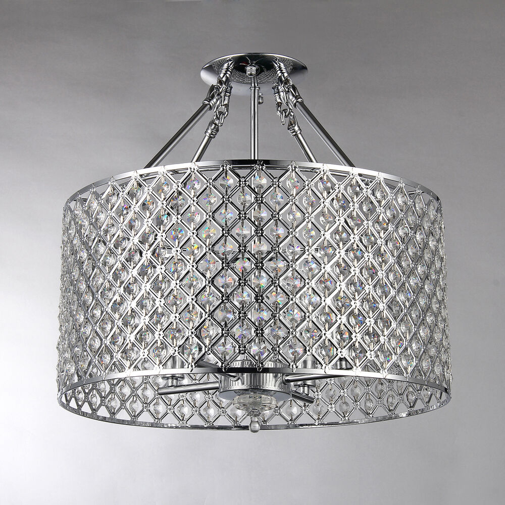 Flush Ceiling Chandeliers: Chrome Round Shade Crystal Semi Flush Mount Chandelier 4