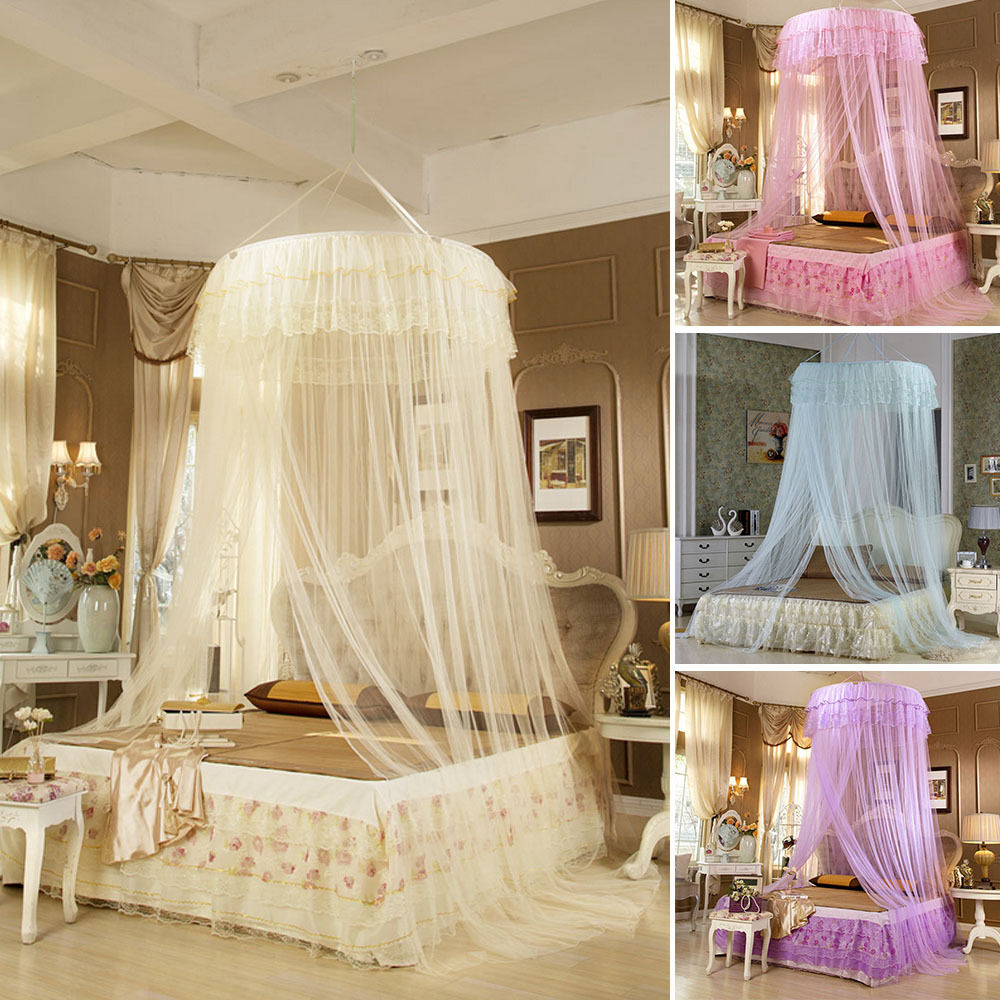 Fashion princess bed canopy mosquito net netting new for Bed with mosquito net decoration