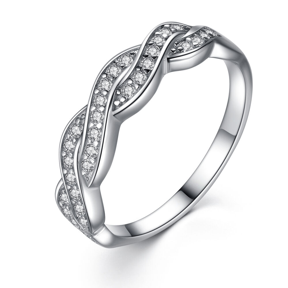 Women39s solid sterling silver aaa cz infinity anniversary for Cz wedding rings for women
