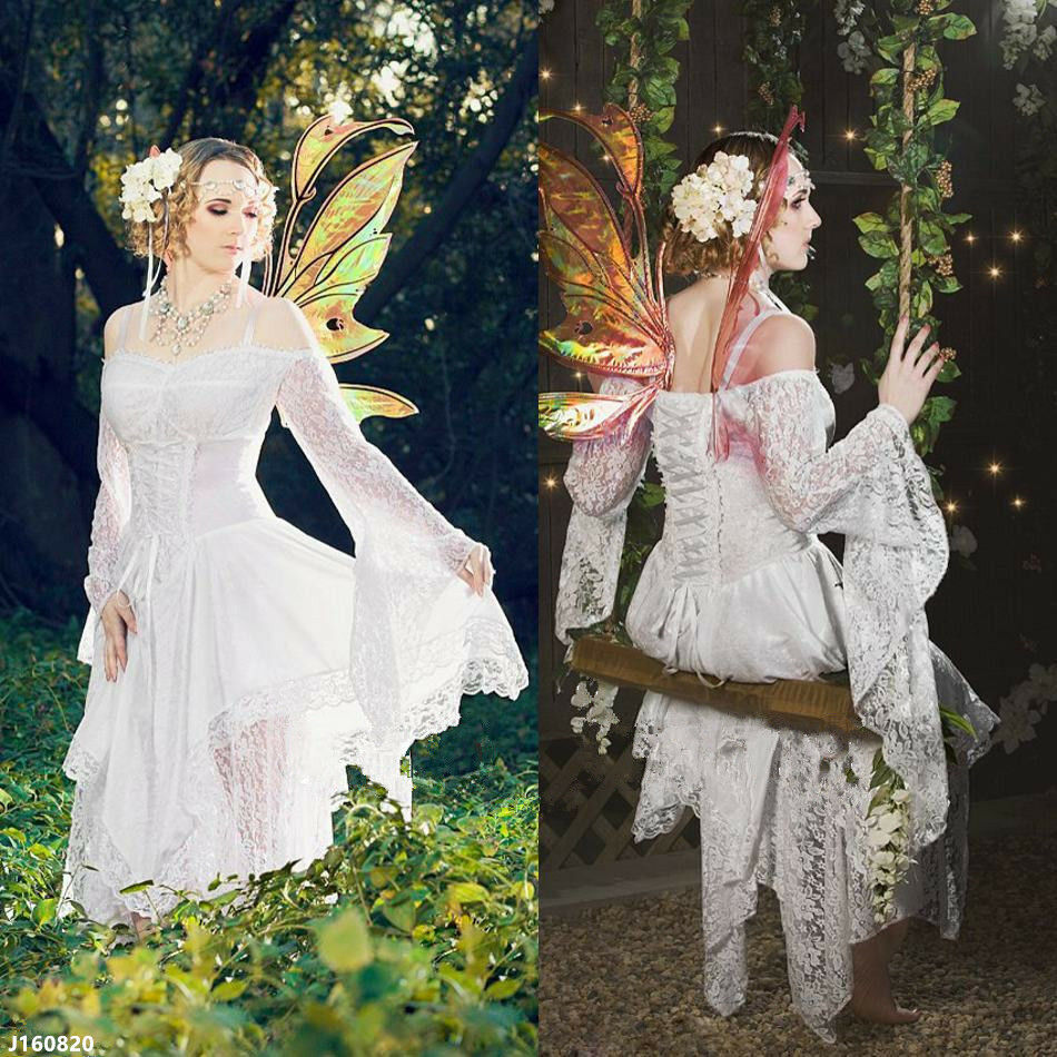 Medieval White Wedding Dress Vintage Fairy Butterfly