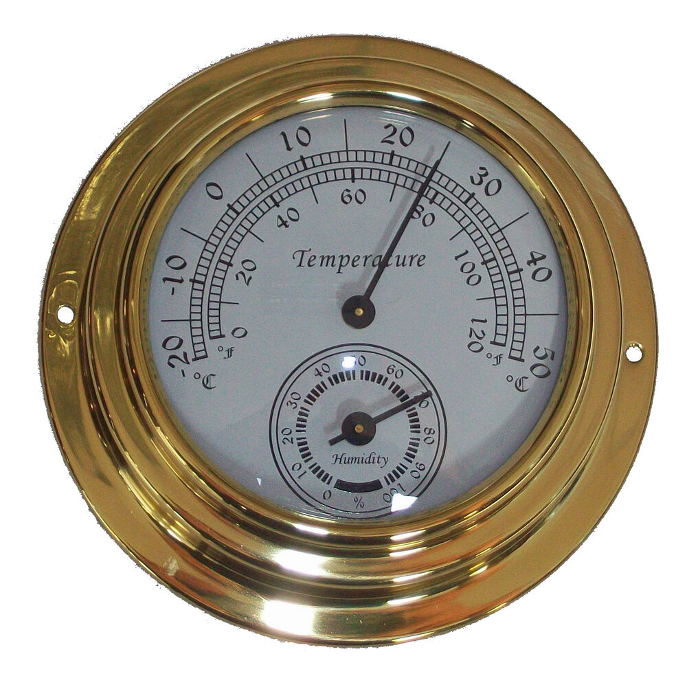 10cm Dial Brass Case Thermometer Hygrometer 0 176 C 50 176 C Wall
