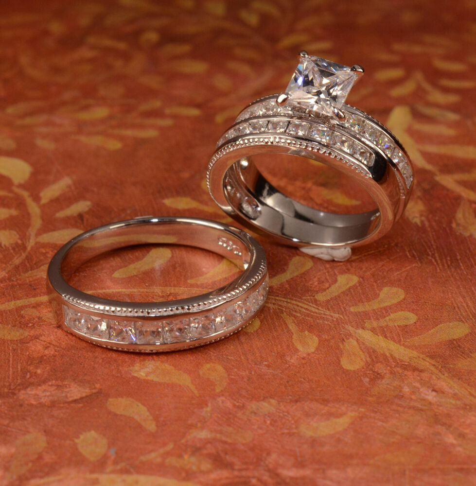 White Gold Finish Engagement Ring And Multi Wedding Bands Set His Hers L9 M 1