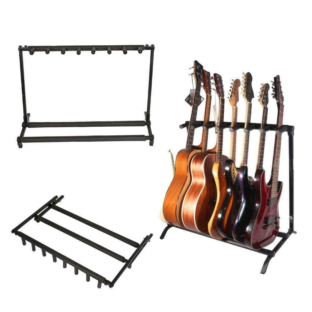 Exhibition Stand Organizer : Guitar stand multiple seven instrument display rack