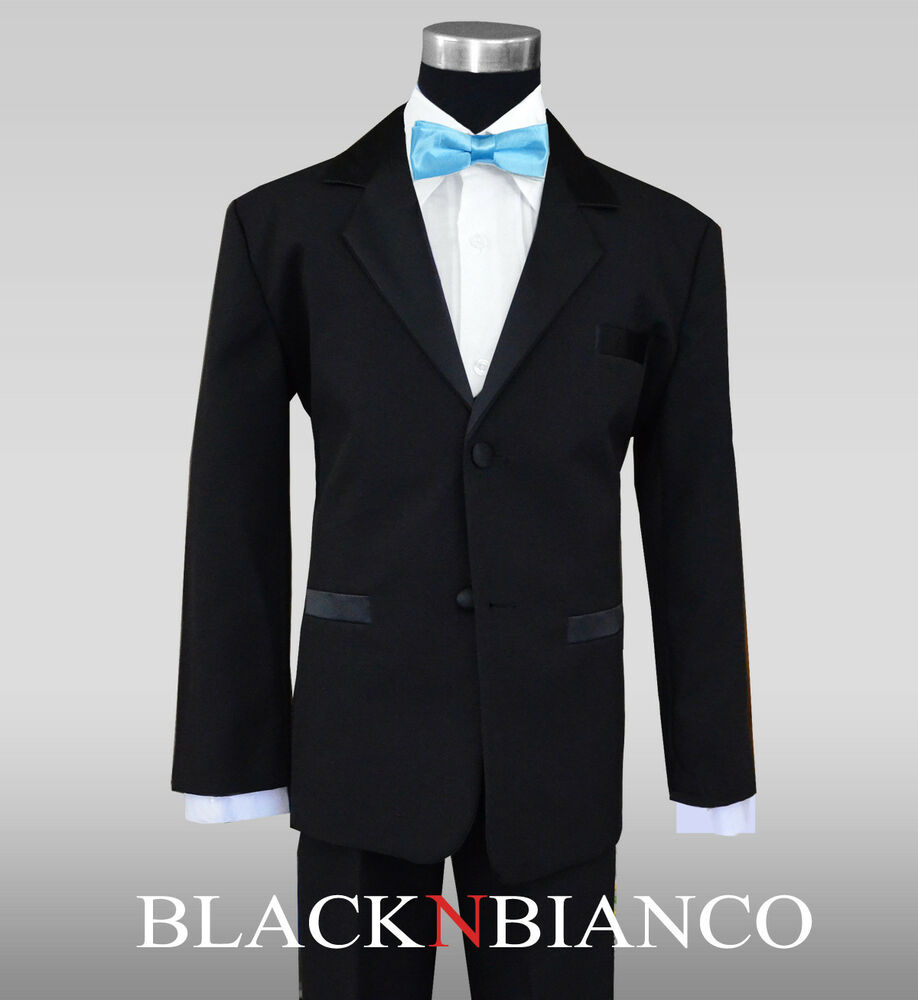 Boy Tuxedo Dress Suit In Black With Baby Blue Bow Tie All