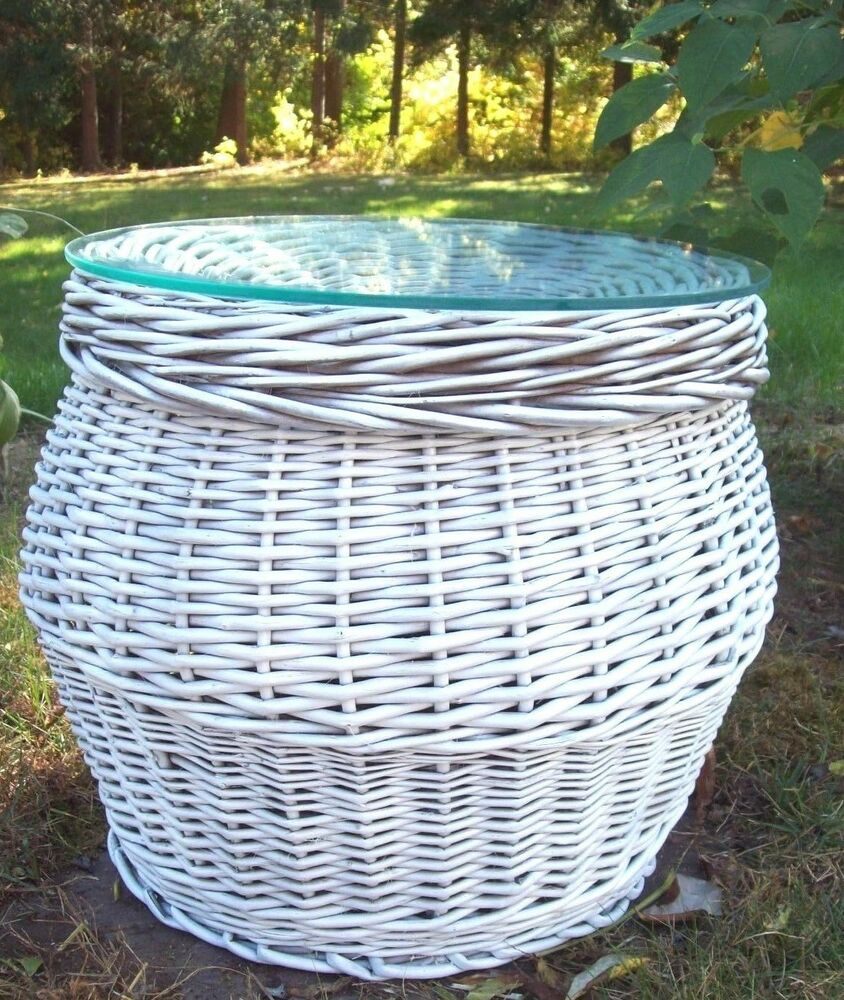 Round Wicker Coffee Table With Storage: Vtg Round White Wicker Rattan Glass Top Storage Basket End