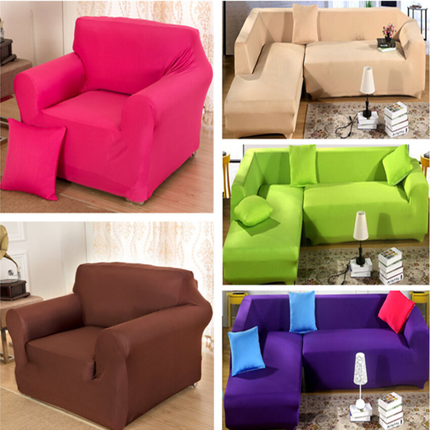stretch elastic solid color sofa cover sectional corner couch covers slipcover ebay. Black Bedroom Furniture Sets. Home Design Ideas