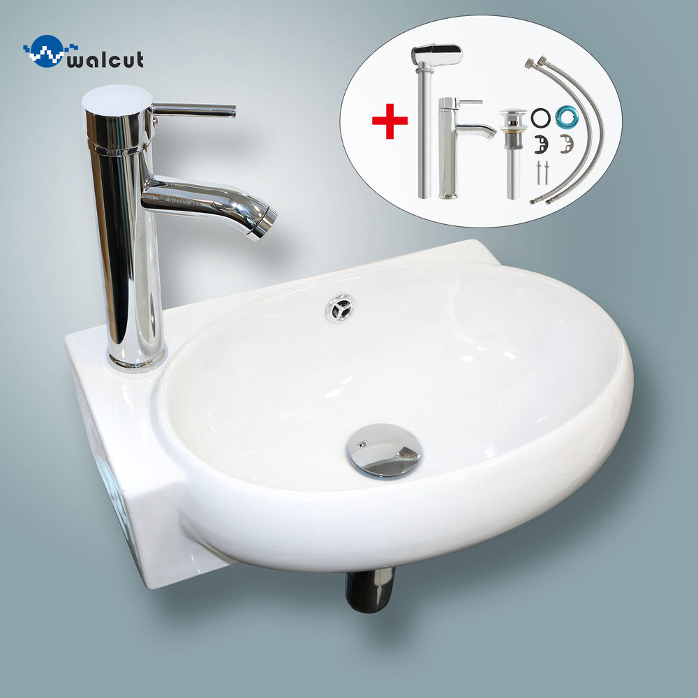 Bathroom Sinks Fixtures: Bathroom Vessel Wall Mount Sink Ceramic Corner Basin W