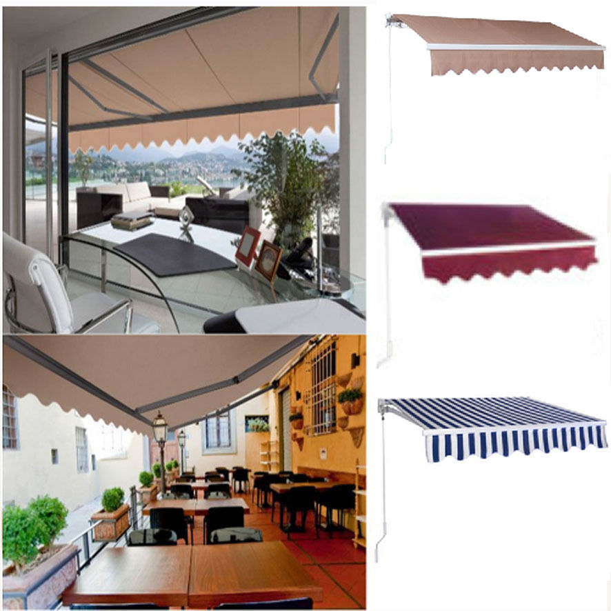 Manual Patio Retractable Deck Awning Sunshade Shelter