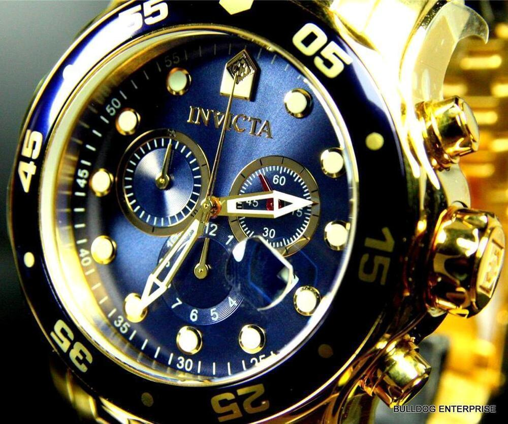 mens invicta pro diver scuba gold plated blue chronograph swiss parts watch new ebay. Black Bedroom Furniture Sets. Home Design Ideas