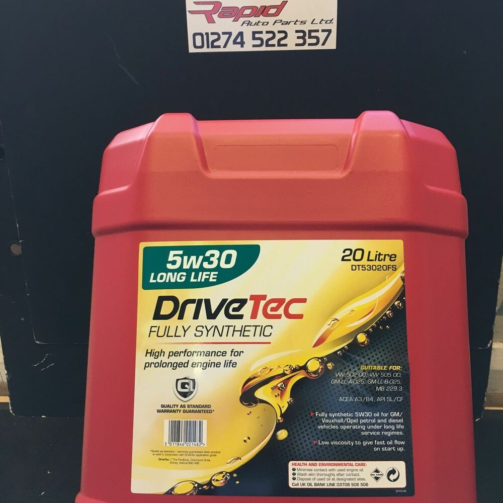 drivetec 5w30 fully synthetic car engine oil 20l long life. Black Bedroom Furniture Sets. Home Design Ideas