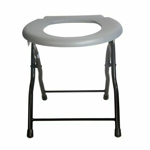Folding commode toilet chair steel portable camping seat 250 pounds capacity ebay - Camif commode ...