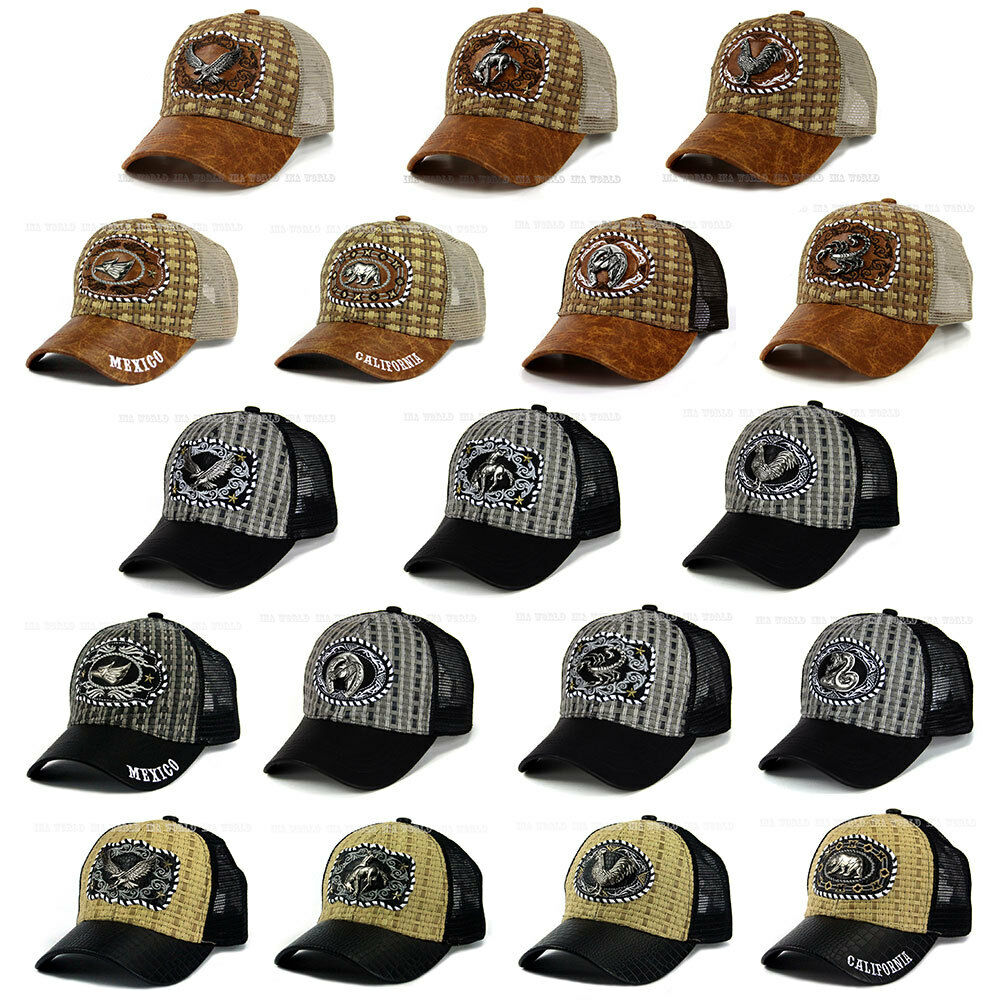 bdcd89f74a1 Details about Straw Woven hat Western style Mesh Trucker Faux Leather  Snapback Baseball cap
