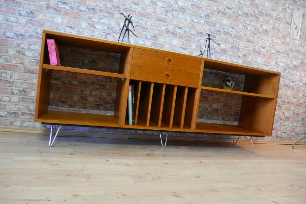 bornholm teak sideboard kommode hifi tv schrank 60er 70er jahre mit hairpin legs ebay. Black Bedroom Furniture Sets. Home Design Ideas