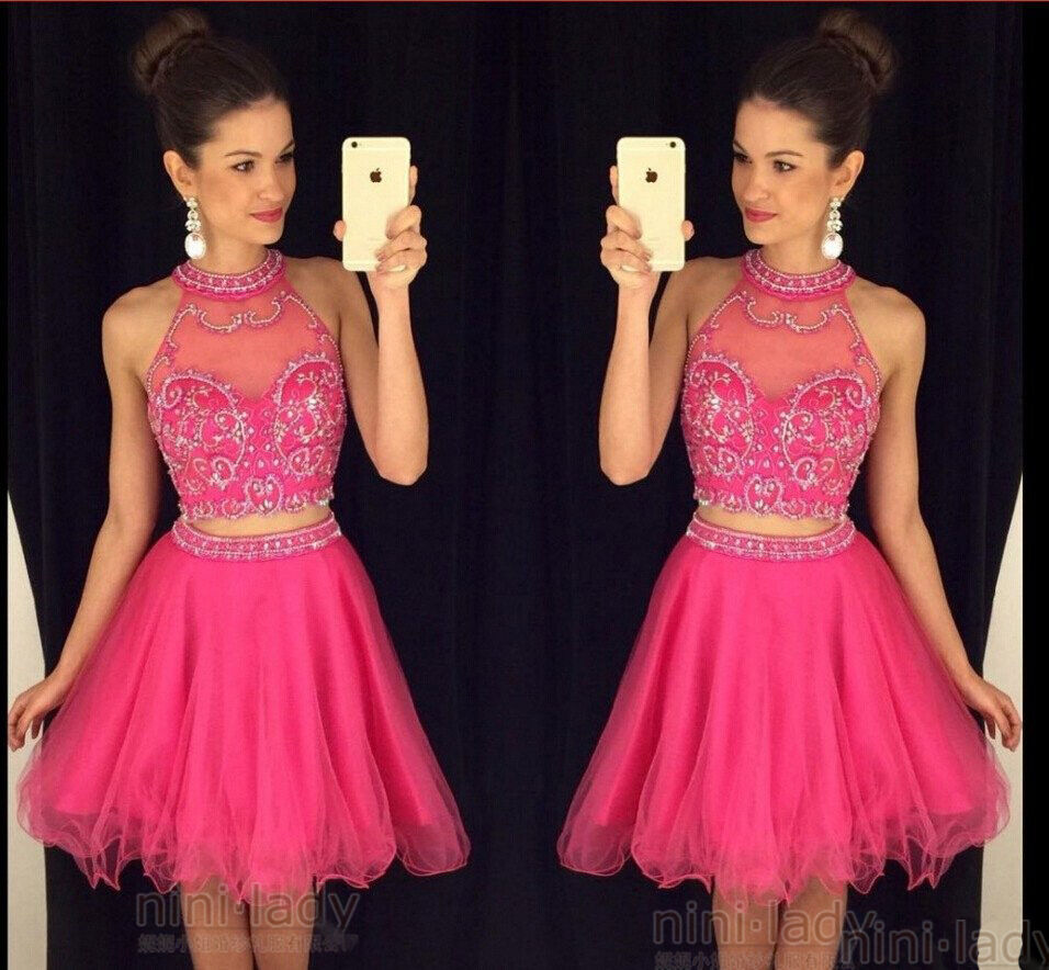 Two Piece Homecoming Dresses Halter Cocktail Party Short