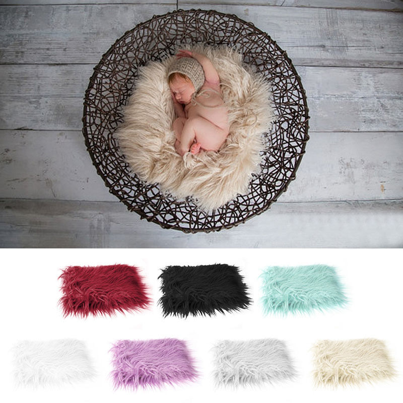 Photography Props Newborn Soft Faux Fur Rug Mat Baby