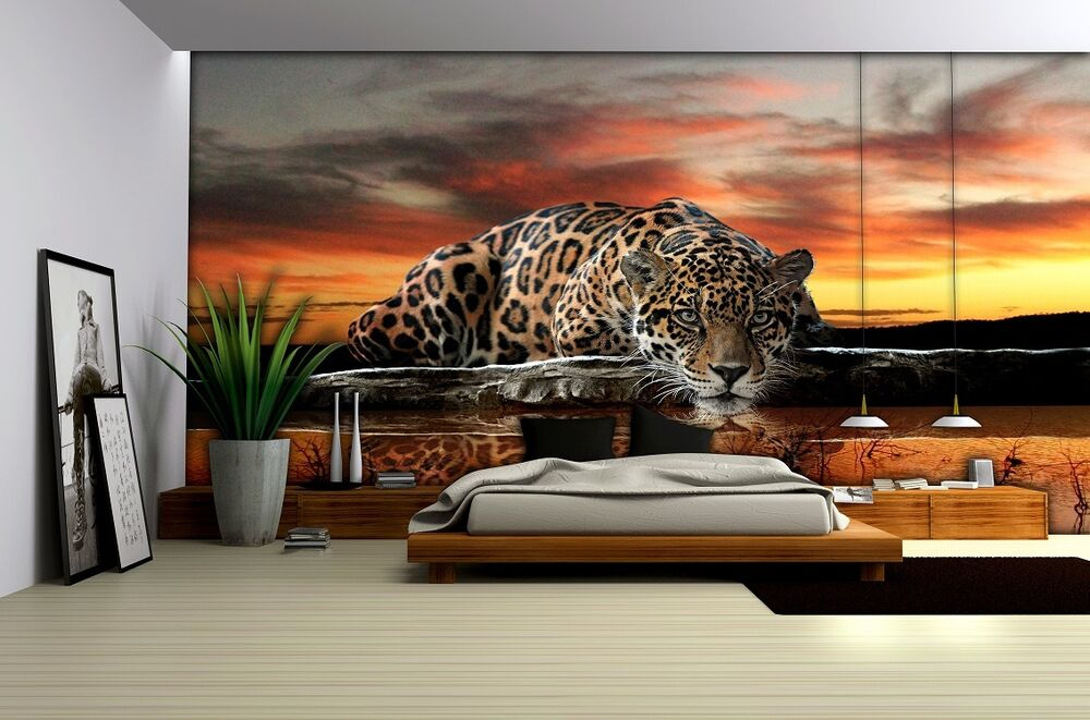 jaguar wilde katze tapete f r schlafzimmer wohnzimmer rie eige gr e foto ebay. Black Bedroom Furniture Sets. Home Design Ideas